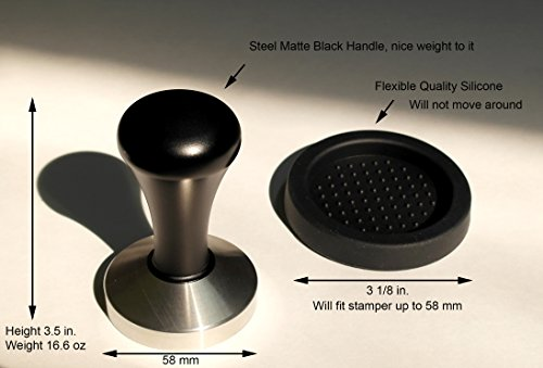 Trusted Buddy 58 mm Stainless Steel Flat Base Espresso Tamper with Tamper Mat