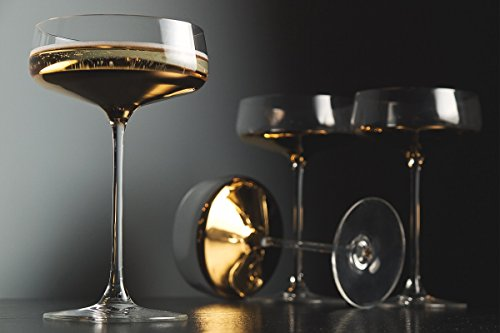 Barski - Handmade Glass - Champagne Saucer - Decororated And Dipped in 20 K gold on the bottom - 10 oz. - Gift Boxed - Made in Europe - Set of 4 (Set Of 20 Champagne Glasses)