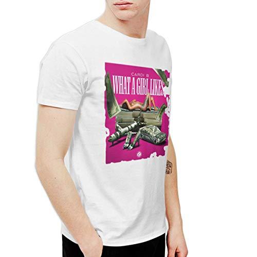 (QYBFEPBEGW Men Cardi B What A Girl Likes Cool Walk White 6XL T-Shirts Short)