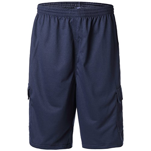 Greatrees Men's Big & Tall Elastic Waist Fleece Cargo Shorts Navy 3X ()