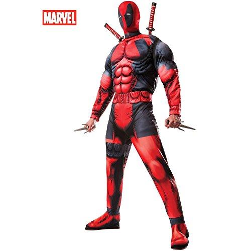 Mens Superhero Costumes (Rubie's Men's Marvel Universe Classic Muscle Chest Deadpool Costume,Multi-Colored,Standard)