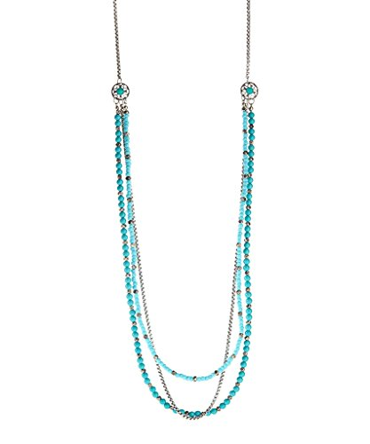 Lux Accessories Synthetic Turquoise & Burnished Silvertone Beaded Triple-Strand Necklace