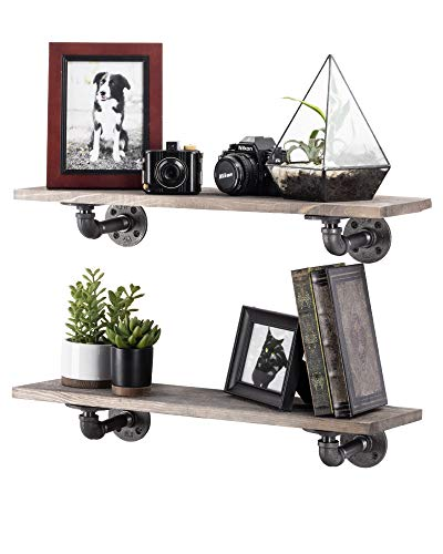 Rustic Industrial Pipe Brackets Floating Shelves by Pipe Decor, Distressed Aged Wood Paired with Iron Pipes Bracket, Wall Mounted Hanging Shelf, Reclaimed and Barn Wood Inspired, 24 Inch Grey 2 Pack by PIPE DÉCOR (Image #7)