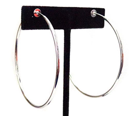 Clip-on Earrings Silver Tone Steel Hoop Earrings Simple Thin 2.25 inch Hoop