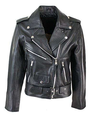 Blouson cuir perfecto femme style Brando biker motard couleur noire Schwarz