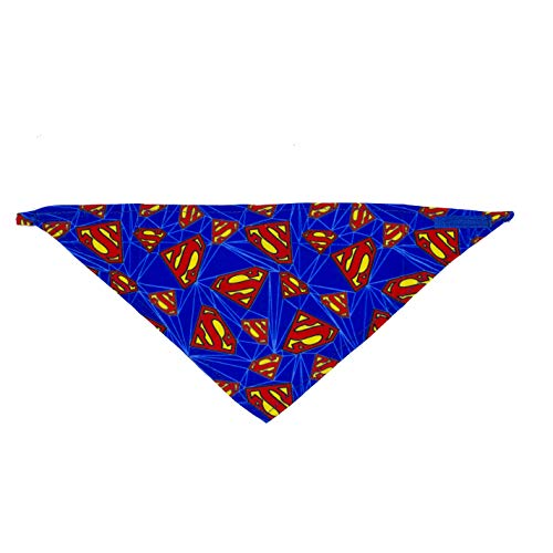 DC Comics Dog Bandana | Superman Logo Repeated Pattern |Super Adorable Superhero Scarf for Pets | Large
