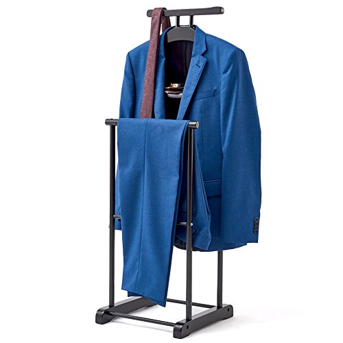 EZOWare Clothes Valet Stand for Men, Suit Coat Clothing Wardrobe Hanging Rack Organizer - Black ()