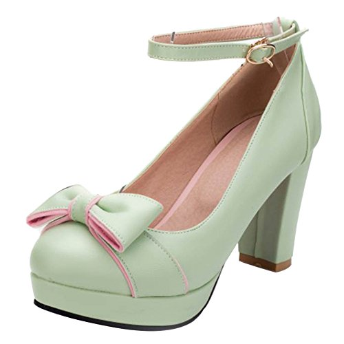 TAOFFEN Women Fashion Block High Heel Pumps Bowknot Green oVjWtlY
