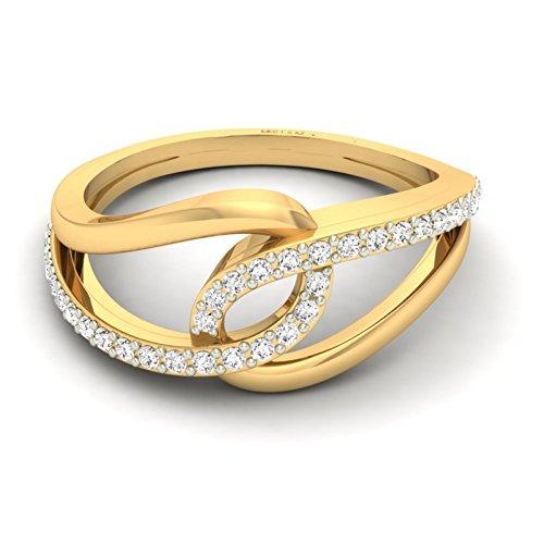 18K Or jaune 0,21CT TW Round-cut-diamond (IJ | SI) en diamant