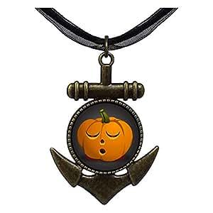 Chicforest Bronze Retro Style Halloween Jack O lantern pumpkin face Anchor Pendant