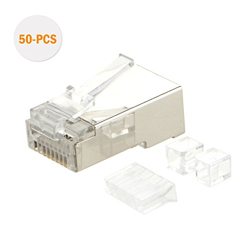 CableCreation 50-PACK Cat 6A RJ45 Modular Plug (three-piece suit), Shielded FTP Network connector For Solid Wire and Standard Cable