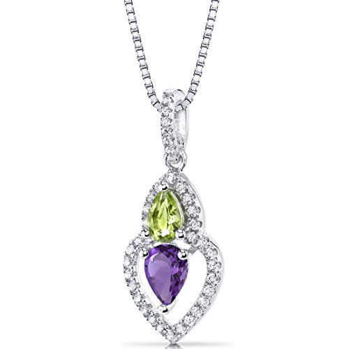Amethyst and Peridot Pendant Necklace Sterling Silver Pear Shape 1.00 Carats Total