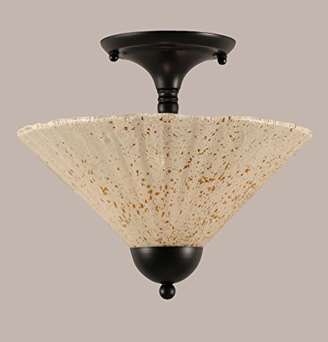 12 in. Semi-Flush Mount with Gold Ice Shade