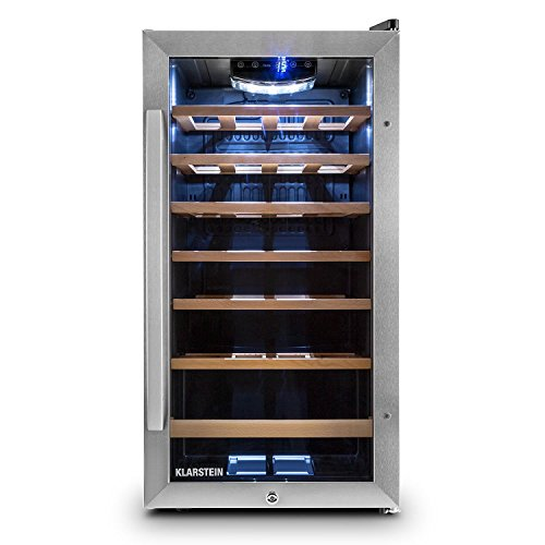 Klarstein Vivo Vino 26 Weinkühlschrank Getränkekühlschrank (88 Liter für 26 Flaschen, Holz-Regaleinschübe, Glastür, LCD-Display) schwarz-silber