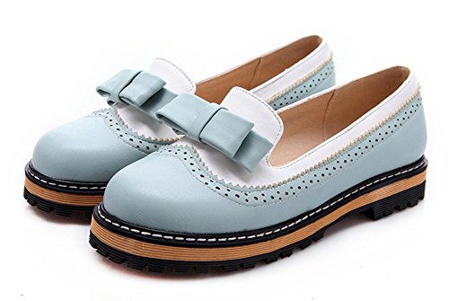 Women's Round Toe Flat Loafers Sweet Casual Shoes with Bow Blue - 4