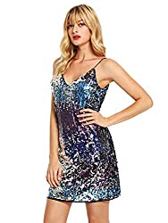 Spaghetti Strap V Neck Sequin Cami Dress