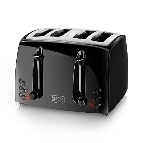 BLACK+DECKER TR1410BD 4-Slice Extra Wide Slot Toaster, Bagel Toaster, Black/Stainless Steel