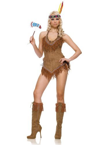 Leg Avenue Women's Indian Girl Costume Dress, Brown, Medium/Large