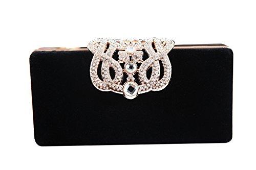 (kingluck Womens Evening Cocktail Wedding Party Handbag Clutch Purse Wallet (black))