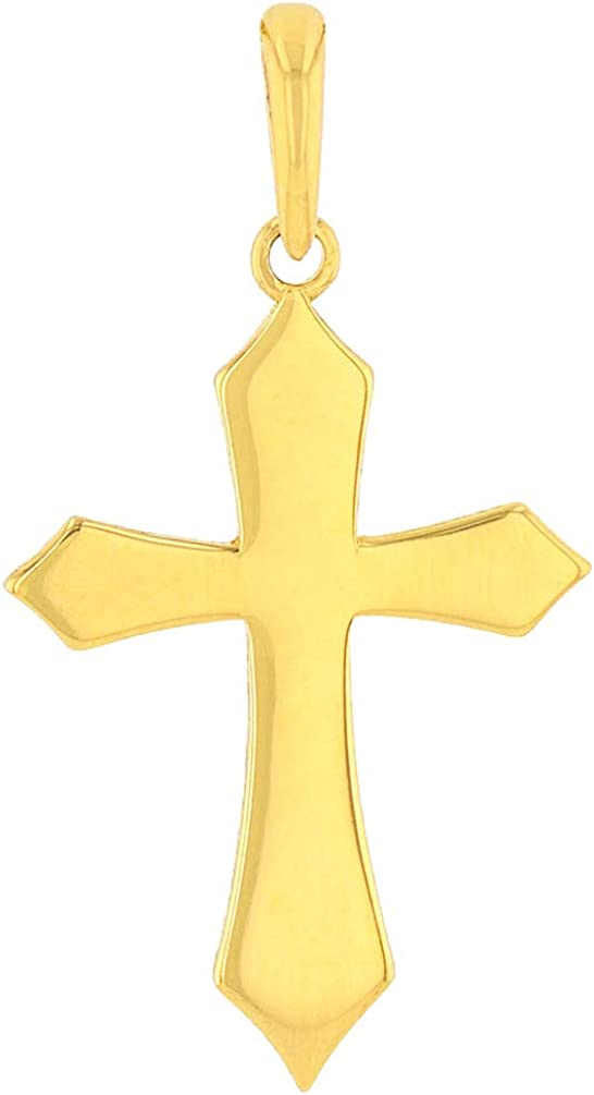 Solid 14k Yellow Gold Silhouette Botonee Orthodox Cross Pendant with Cuban Necklace