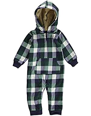 Carters Infant Boys Green Plaid Hooded Fleece Jumpsuit Coverall Outfit