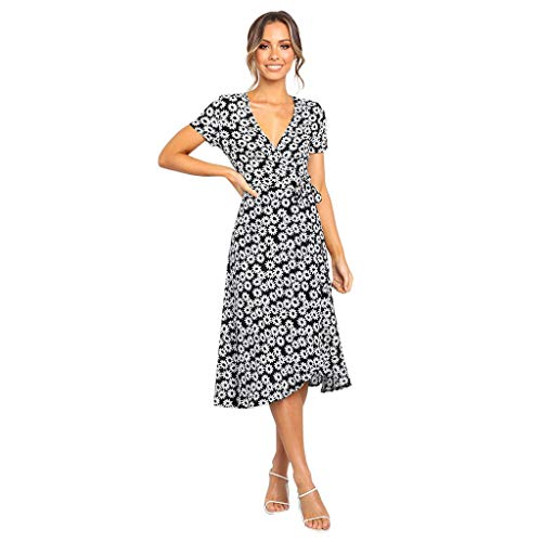 Sunhusing Women's Deep V-Neck Floral Print Short Sleeve Belt with Bohemian Style Beach Party Maxi Dress Black