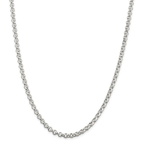 Half Round Rolo - Sterling Silver 4.75mm Half Round Rolo Chain 24in Necklace