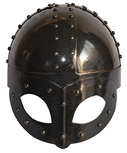 SA International Black Antique Plated Medieval Viking Mask Helmet Christmas Gift With Liner & -