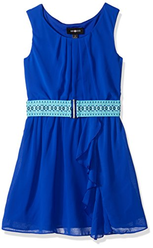 Amy Byer Belt (Amy Byer Big Girls' Sleeveless Ruffle Front Dress with Novelty Belt, Cobalt, 8)