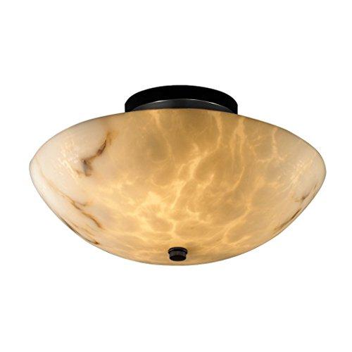Justice Design Group FAL-9690-35-MBLK LumenAria Collection Round Semi-Flush Bowl, 14