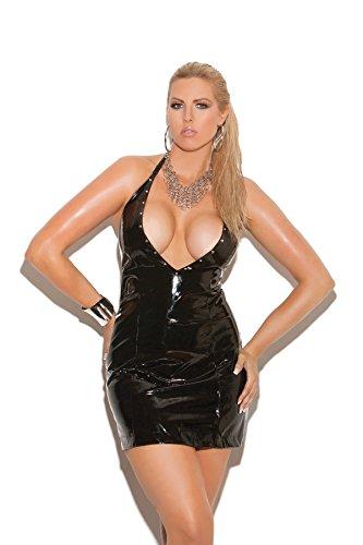 - Zabeanco Women's Plus Size Studded Deep V Vinyl Halter Dress