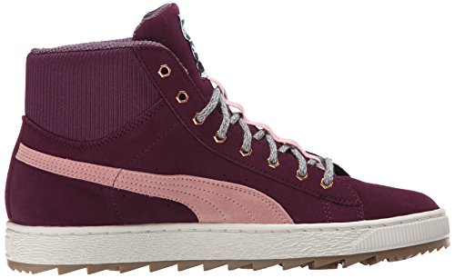 Sneaker Di Puma Da Donna Classica In Pelle Scamosciata Italiana Prugna / Corallo Nuvola Rosa
