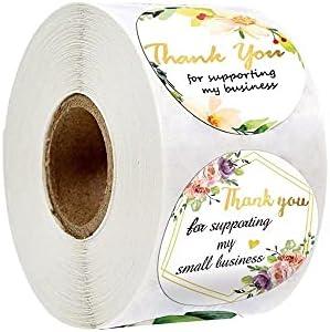 500 stks Bloem Dank U Sticker Etiketten Roll voor Zakelijke Gunsten Verjaardagspartij Bruiloft Decoratieve Afdichting Etiketten
