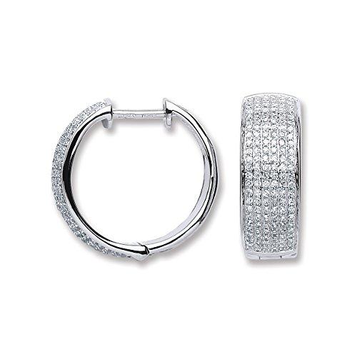 Jareeya-Or blanc 18ct 0,55CT Diamant Boucles d'oreilles créoles