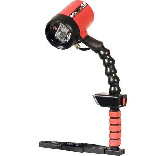Ikelite 4035 Auto Flash AF35 Kit, Left Hand Flash Kit with Single Tray Guide, ISO 100, Feet: 28 Surface, 16 Underwater (Red)