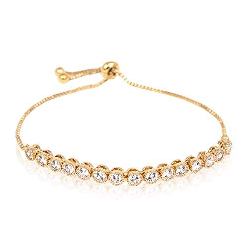 - RIAH FASHION Sparkly Crystal Rhinestone Cubic Zirconia Bridal Bracelet - Pave Wedding Statement Cuff Bangle Adjustable Wrist Slide Tennis Bolo/Pearl Wrap Stack (Bezel Set - Gold)