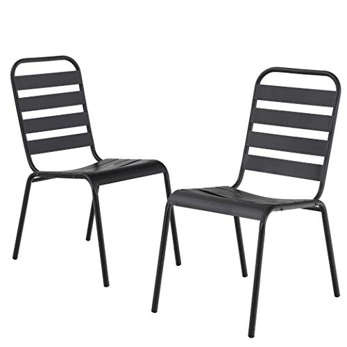 MF Outdoor Patio Metal Steel Dining Stackable Chairs Set of 2 with Slat Seat for Garden,Backyard Support 300LBS, Black