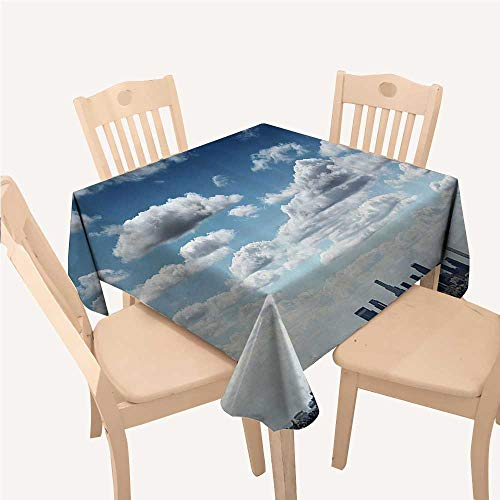 WilliamsDecor Apartment Decor Collection Party Supplies Tablecloth Downtown Los Angeles Skyline Under Summer Sky with Scenic Fluffy Clouds PictureBlue White Gray Square Tablecloth W70 xL70 inch -