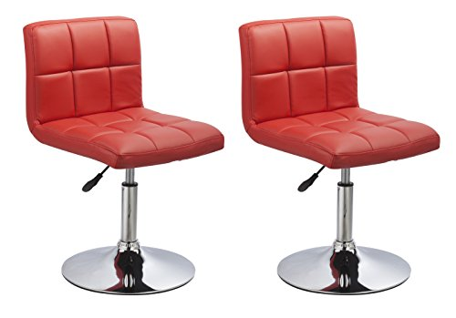 Duhome 2 PCS Contemporary Dining Chairs Swivel Height Adjustable PU Leather Restaurant Cafe Bistro Reception Stools 451N (Red)