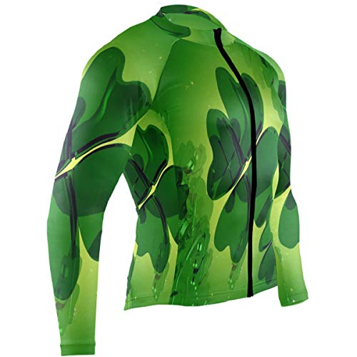 Dreamy Four-Leaf Clover Mens Cycling Jersey Jacket Full Sleeve Outdoor Cycle Clothes Outfit