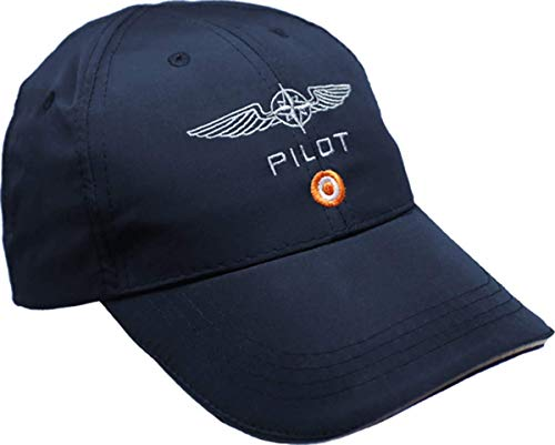 DESIGN 4 PILOTS Blue Microfiber Pilot Aviation Cap with Embroidered Pilot Wing, hat Cap Pilot Gift ()