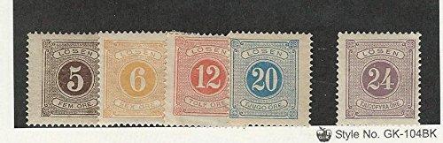 Sweden, Postage Stamp, J14-J17, J18 Mint Hinged, 1877-80