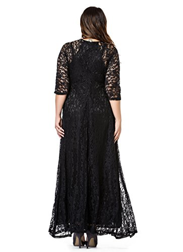 116011be9fb Esprlia Women s Plus Size Floral Lace 3 4 Sleeve Wedding Maxi Dress