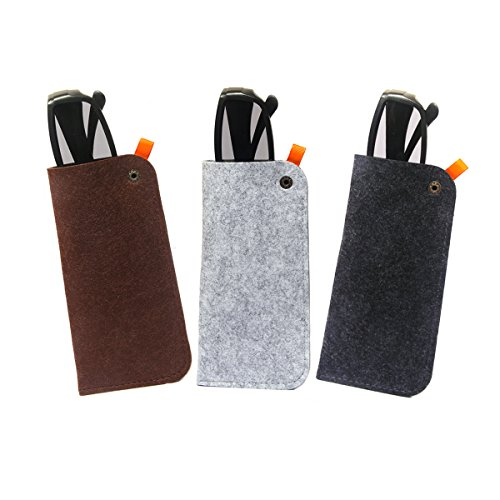 Felt Glasses Case Polemax 3 Pack Portable Soft Slip In Glasses Pouch Case for Eyeglass and Sunglasses Holder (Brown+Grey+Dark) ()