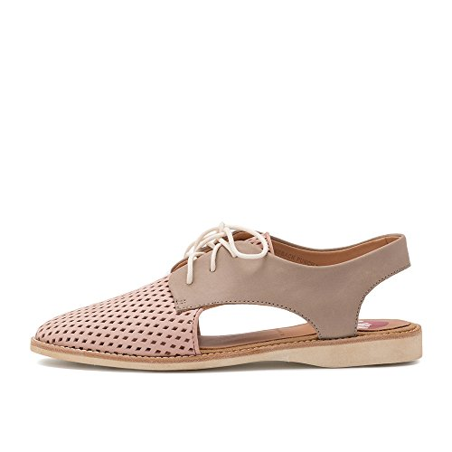 Women's Shoe Lightweight Flat Blush Lace Slingback Up Sandal Perforated Stone Punch Rollie UdazwUq