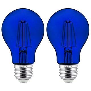 Sunlite 81080 LED Filament A19 Standard Colored Transparent Dimmable Light Bulb, 2 Pack, Blue