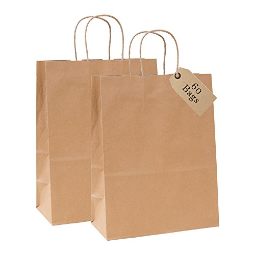 Incredible Packaging - 10 x 5 x 13 Kraft Paper Bags with Handles for Shopping, Retail, Merchandise, Gift and Party Bags. Strong and Reusable - 80 Paper Thickness- 100% Recycled Bulk (60, Brown)