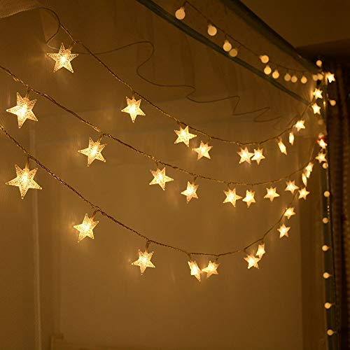 Battery Powered Homeleo Warm White 50 Led Star Fairy Lights with Remote Control