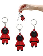 Squid Game Mask Keychain, Halloween Squid Game Cosplay Doll keychain masked person 3D character keychain pendant for Women Men Kids Key Chain Toys Gift (3Pcs)