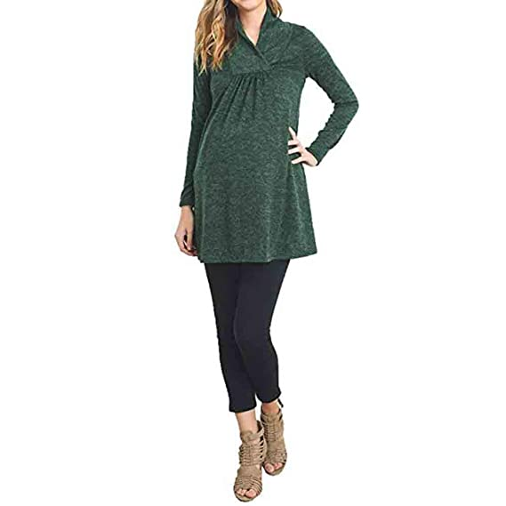 44c1aae4d73 Voberry Women s Loose Maternity Clothes Pregnant Shirts Casual Long Sleeve  V Neck Blouse  Amazon.in  Clothing   Accessories